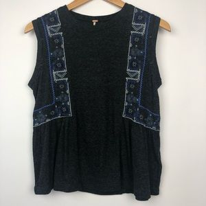 Free People Boho Grey Tank Top Size XS NWT